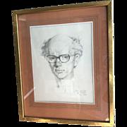 Original vintage self portrait of Peter Wardle by himself