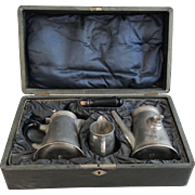 Antique German Basse & Fischer boxed pewter coffee set