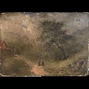 Antique English 18th Century landscape in oil