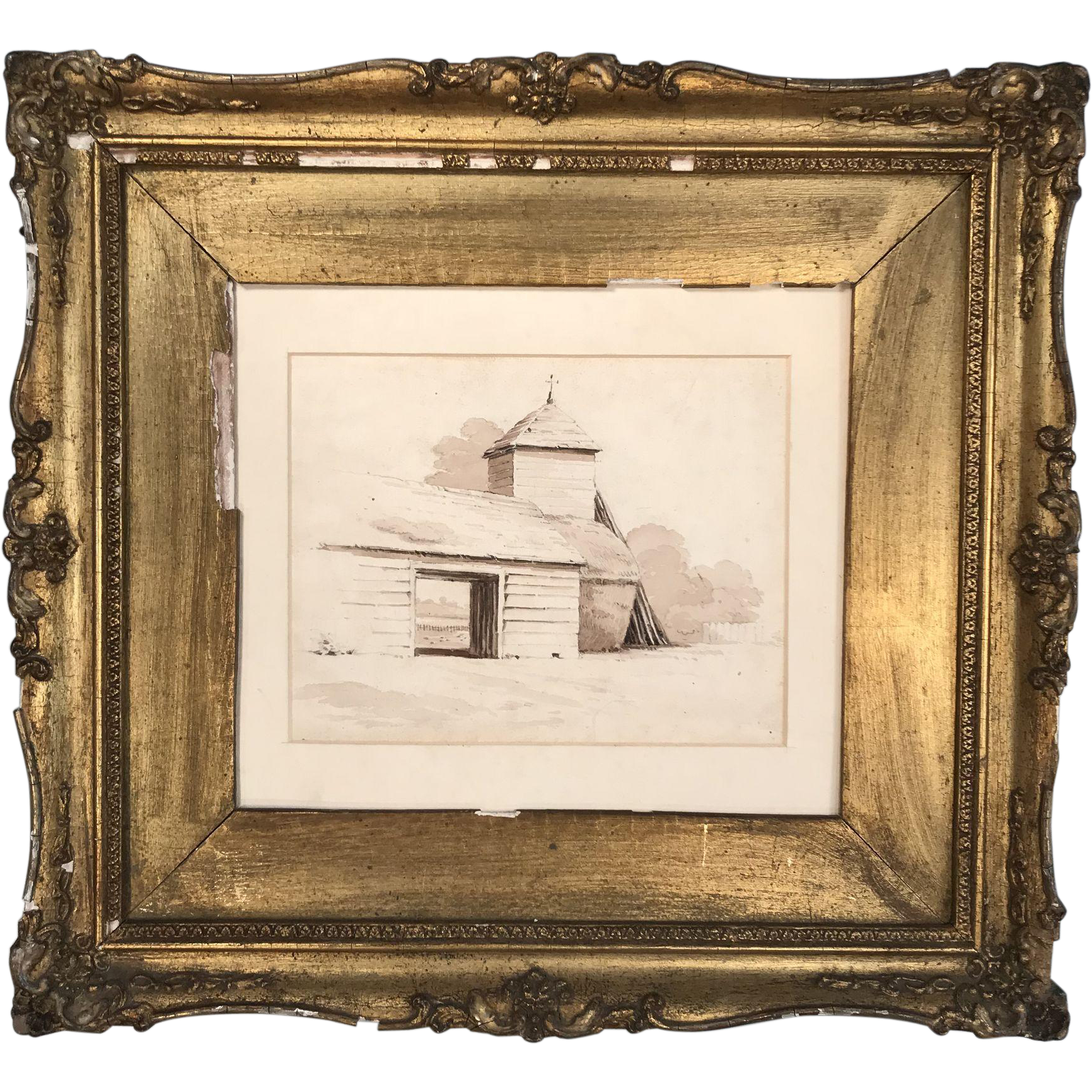 Antique English 19th Century watercolour study of haystacks by a barn by James Holmes
