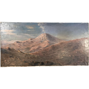 Antique landscape in oil of active volcano by P Lidyard dated 1919