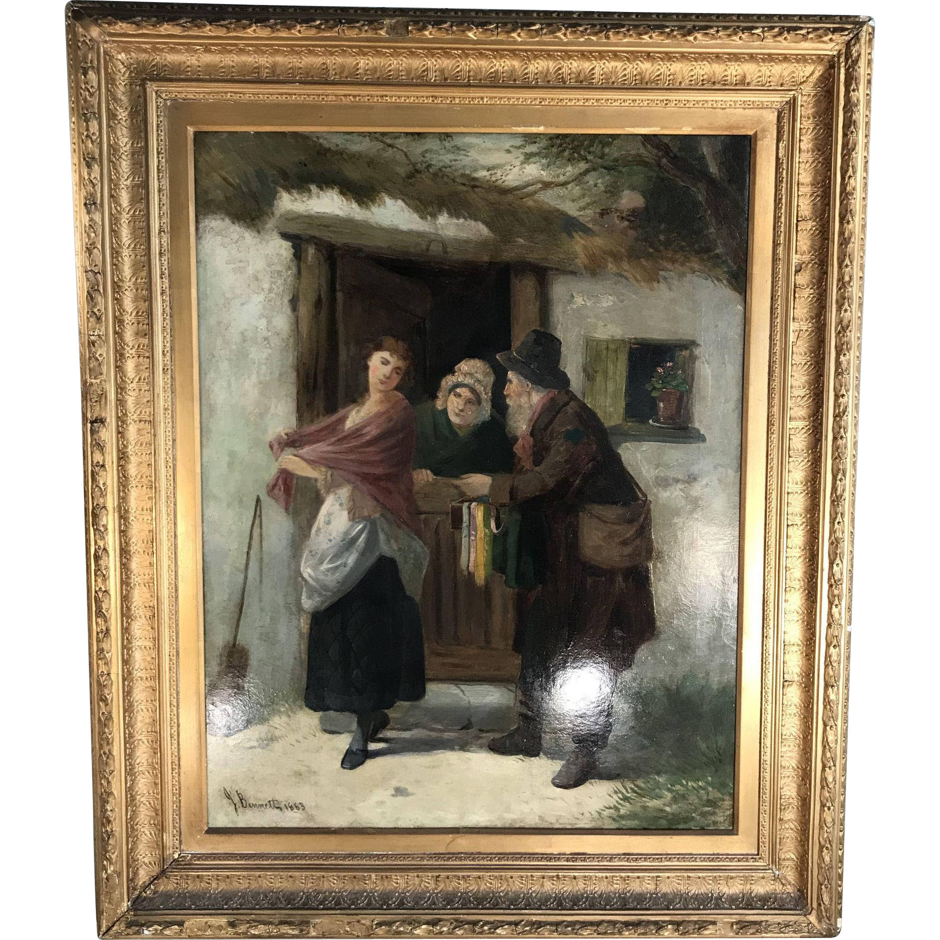 Very large antique Victorian framed oil painting in gesso frame