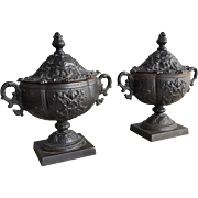 Pair antique cast iron Continental decorative urns