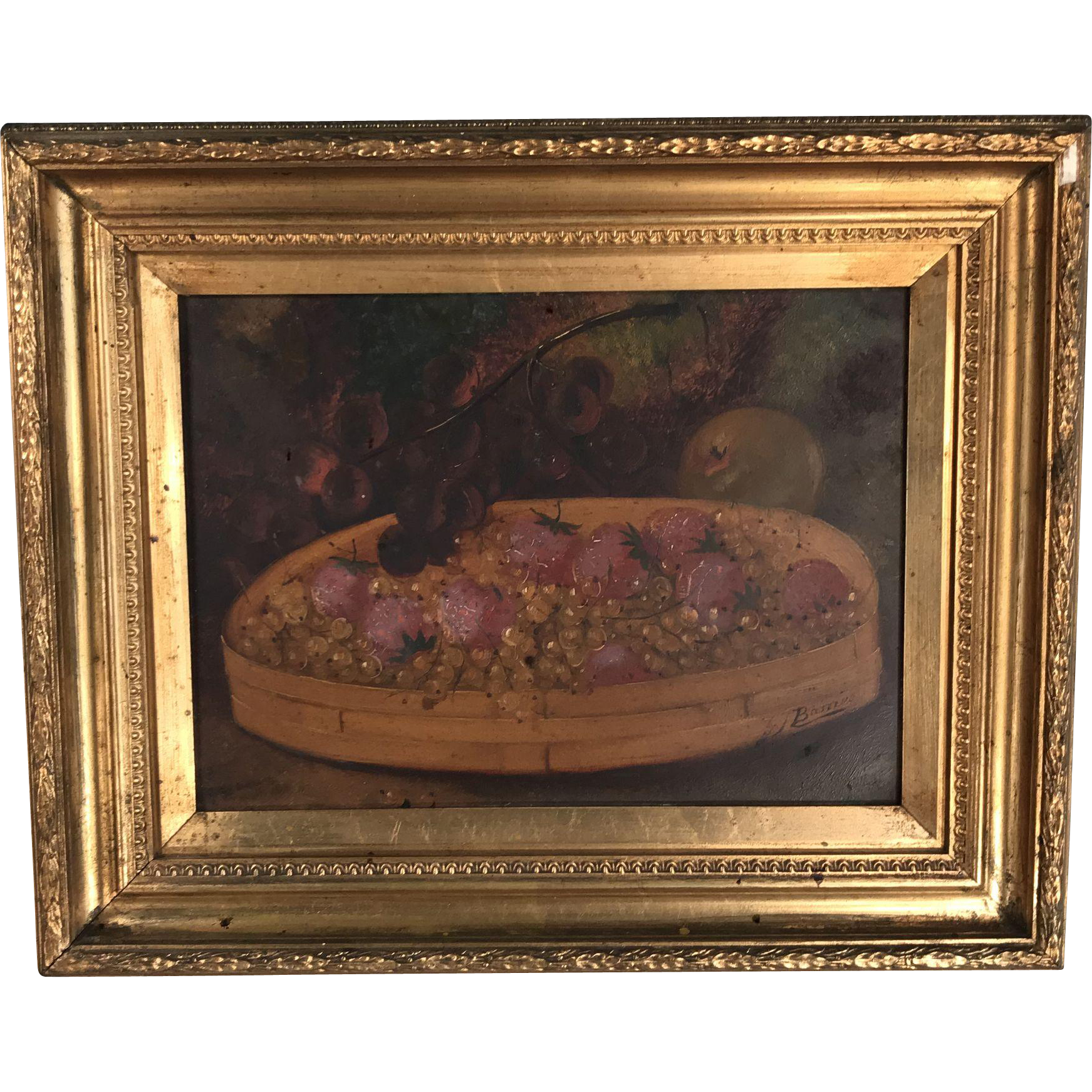 Antique English mid 19th Century framed still life in oil fruit in a basket by GJ Barnes 1 of 2