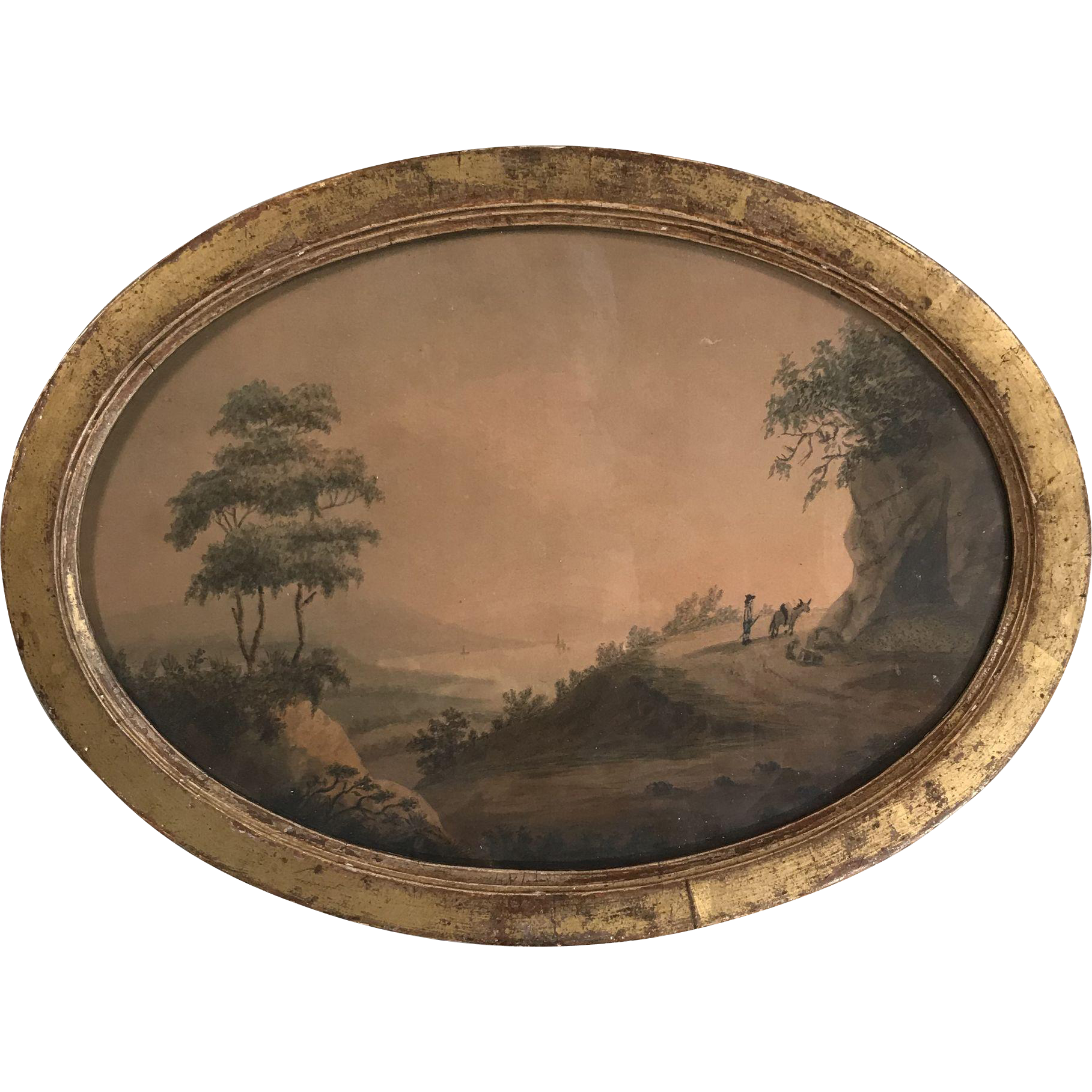 Antique Georgian framed watercolour in oval frame 2 of 2