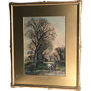 Antique landscape watercolour painting entitled Homestead near Sudbury by Henry Charles Fox dated 1927