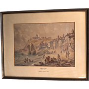 Antique framed watercolour landscape painting entitled French Coast 1832 by David Cox
