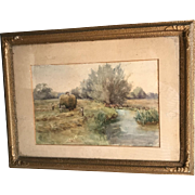 Antique framed watercolour landscape painting farm scene dated 1901