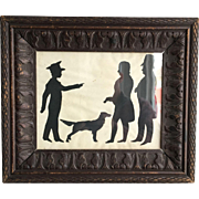 Antique Georgian Silhouette portrait of boy dog gentlemen in carved frame