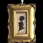 Antique Georgian framed silhouette portrait of lady