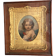 Antique early Victorian framed portrait with gesso frame in mahogany case