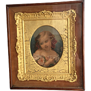 Antique early Victorian framed portrait with gesso frame in mahogany case (no 2)
