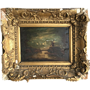 Antique Victorian landscape moonlight oil painting