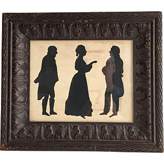 Antique Georgian Silhouette portrait of lady & gentlemen