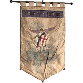 Antique Gothic Church processional banner Guild of S. Michael wall hanging