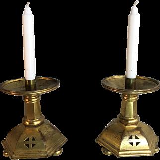 Pair antique Victorian Gothic bronze church candlesticks