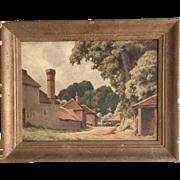 Antique Impressionist oil landscape painting