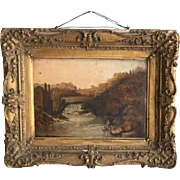Antique oil landscape painting of fisherman by bridge