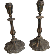 Pair antique French Rococo late Baroque circa 1800 bronze candlesticks