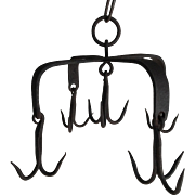 Antique English hand forged iron hanging game hooks from country estate circa 1800