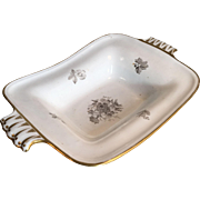 RESERVED Antique Spode china dish or comport with grey floral decoration and gilt edging circa 1880