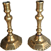 Pair antique French 17th Century brass candlesticks circa 1680
