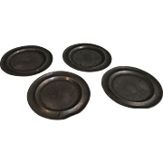 Set of 4 antique English Georgian pewter plates embossed initials AC