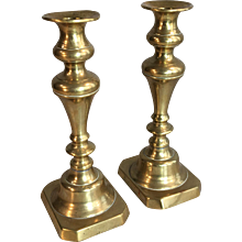 Pair antique Victorian brass candlesticks circa 1880