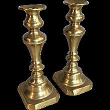 Pair antique Victorian brass candlesticks circa 1880