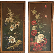 Pair antique oil paintings studies of flowers daisies and poppies on tin with metal frames dated 1897