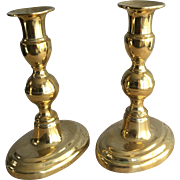 Pair antique Georgian brass candlesticks
