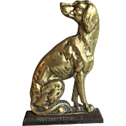 Antique Victorian brass dog spaniel doorstop