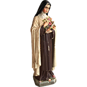 Antique French Catholic Chalkware Statue Saint Theresa