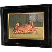 Antique still life watercolour of crab by V Carter