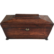Antique English 19th Century mahogany sarcophagus shaped tea caddy