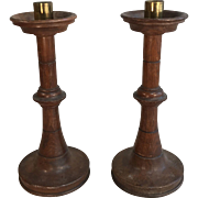 Pair Antique English Victorian Oak Ecclesiastical Church Candlesticks