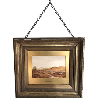 Antique English 19th Century framed watercolour landscape signed RT Minshull