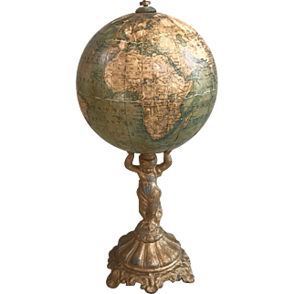 Antique early 19th Century decorative world globe on mounted ornamental metal base