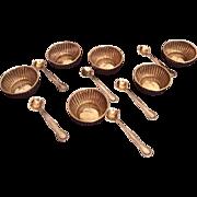 Antique Webster Boxed Set of 6 Sterling Silver Salt Cellars and Spoons