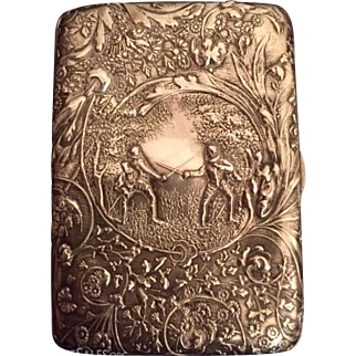 "Ornate Antique Dutch Silver Repousse"" Calling Card Case"