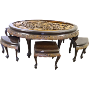 Asian Hand Carved Mahogany Oval Tea Table with 6 Stools by George Zee, circa 1960's