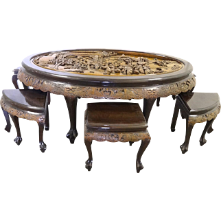 Vintage Hand Carved Mahogany Oval Tea Table with 6 Stools by George Zee, circa 1960's