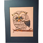 Don Nedobeck Whimsical Mid Century Modern Owl Painting, Signed, circa 1960's