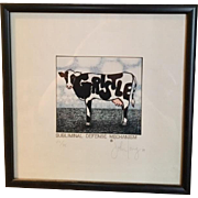 """ Subliminal Defense Mechanism"" Cow Lithograph Signed/Numbered  by John Carroll Long, Syndicated Artist"
