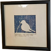 Early Bird - Ironic Folk Art Litho by John Carroll Long, Michigan Syndicated Artist