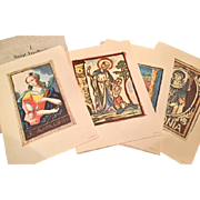 Set of Four Saint Apollonia Prints from the Royal School Of Dentistry in Stockholm, Astra Pharmaceuticals Boxed Gift to Dentists, circa 1960's.