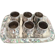 Alpaca Silver and Abalone Cordial Set on Tray from Mexico circa 1950's