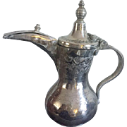 Ornate Silver Plate over Base Metal  Dallah from the late 19th, early 20th century Middle East
