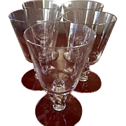 "Mid Century Modern Square ""Cube"" by Cambridge Glasses Set of 5 Water Goblets"