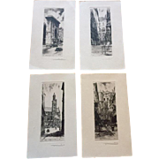 Set of 4 French Etchings by Leopold Robins, signed in the plate and hand numbered in pencil below the plate.
